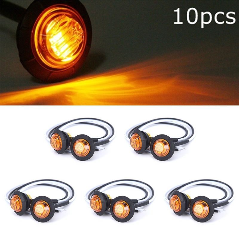 10PCS Mini 12 / 24V 1'' Round Amber LED Light Front Rear Side Marker Indicators Light For Truck Bus Trailer Motocycle 12V