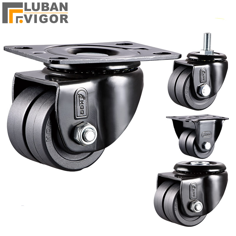 Low Center Of Gravity Casters With Double Row Wheels,1.6inch,FOR Heavy Maching,High Load Bearing ,Wear-resistant Mute