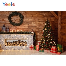 Yeele Christmas Backdrop Tree Wood Fireplace Baby Birthday Party Customized Photocall Photography Background For Photo Studio
