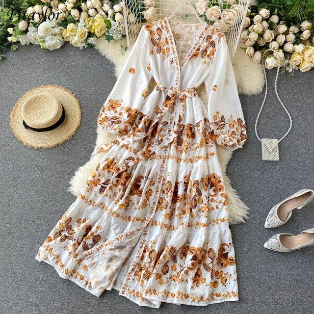 Vintage Print Dress  Elegant V Neck Single Breasted Sashes Tie Up 1