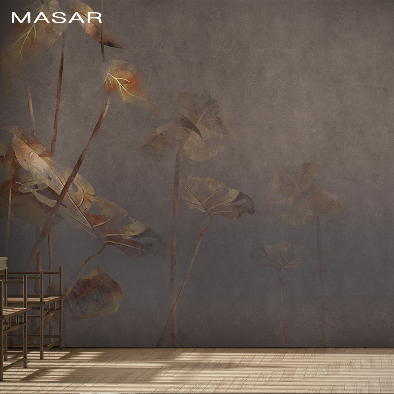 MASAR Simple Fashion Plants, Green Leaves, Frescoes, Dining Halls, Living Rooms, Background Walls, Wallpaper,   Leaf