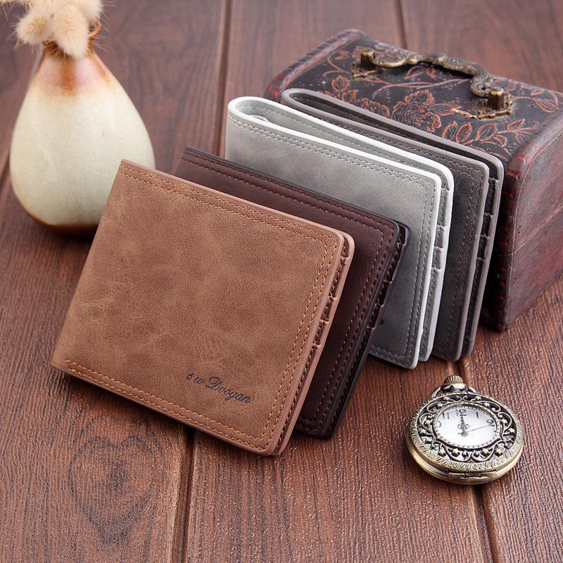 Buy New Fashion Men Short Scrub Business Wallet Men's Brand PU Leather Credit Card Holder Vintage Men's Bifold Stylish Wallets for only 6.4 USD