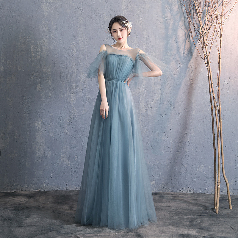 Bridesmaid Clothing Long 2019 New Style Sisters Skirt Bridesmaid Mission Best Friend Small Formal Dress Slimming Off-the-Shoulde