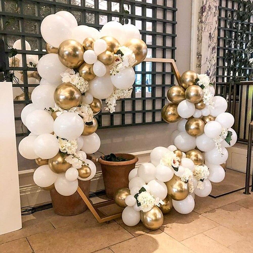 Balão guirlanda arco kit branco ouro látex balões menina menino chuveiro do bebê festa de aniversário do casamento decoração suprimentos balões