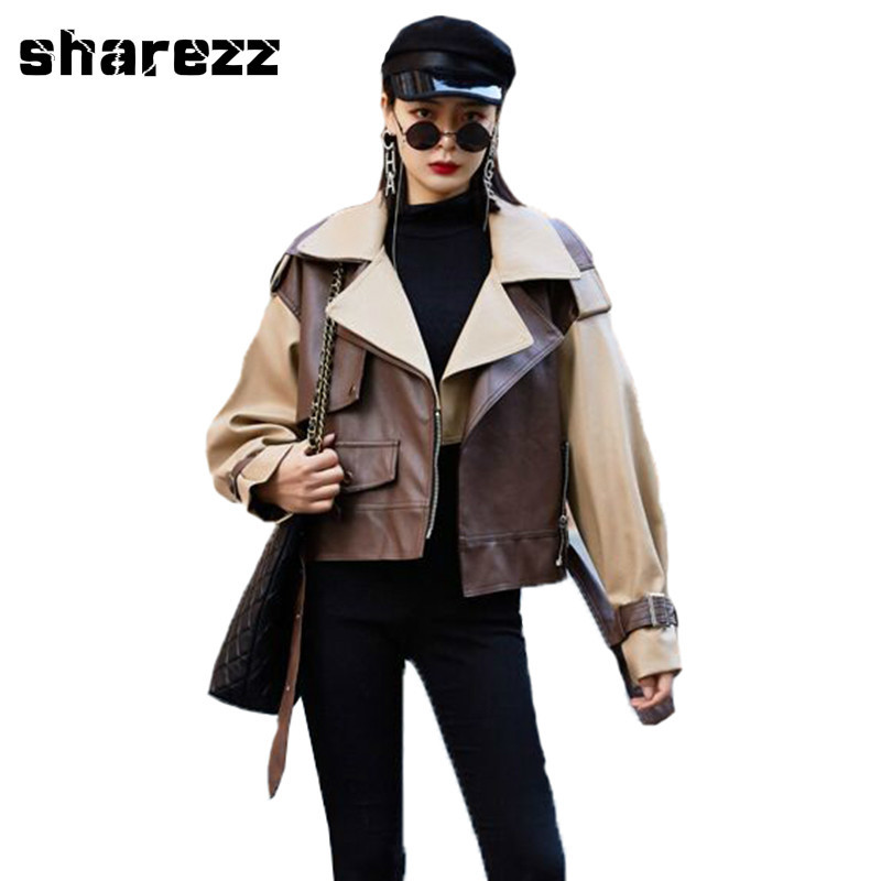Sharezz 2020 Spring Autumn Woman Patchwork Color Long Sleeve Turn-down Collar Zippers Loose Fit Faux PU Coat Leather Jacket Tide