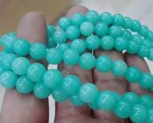 Perle en vrac ronde en pierre d'amazonie verte 8mm 15