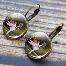Bronze Earring Fairy Jewelry Glass Cabochon Frog and The Hook Tale