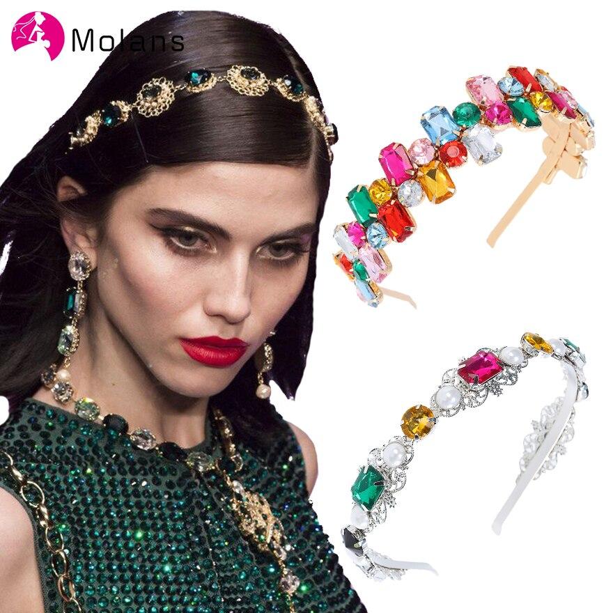 Molans Pearl Gemstone Metal Headbands Temperament Goddess Crown Hairbands Rhinestones Alloy Slim Hair Hoop Girls Hair Ornaments