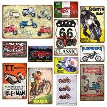 Póster clásico de motocicleta Route 66, decoración de garaje, Bar, Scooter, letreros de estaño, placa de Metal Retro Vintage MV, YJ094