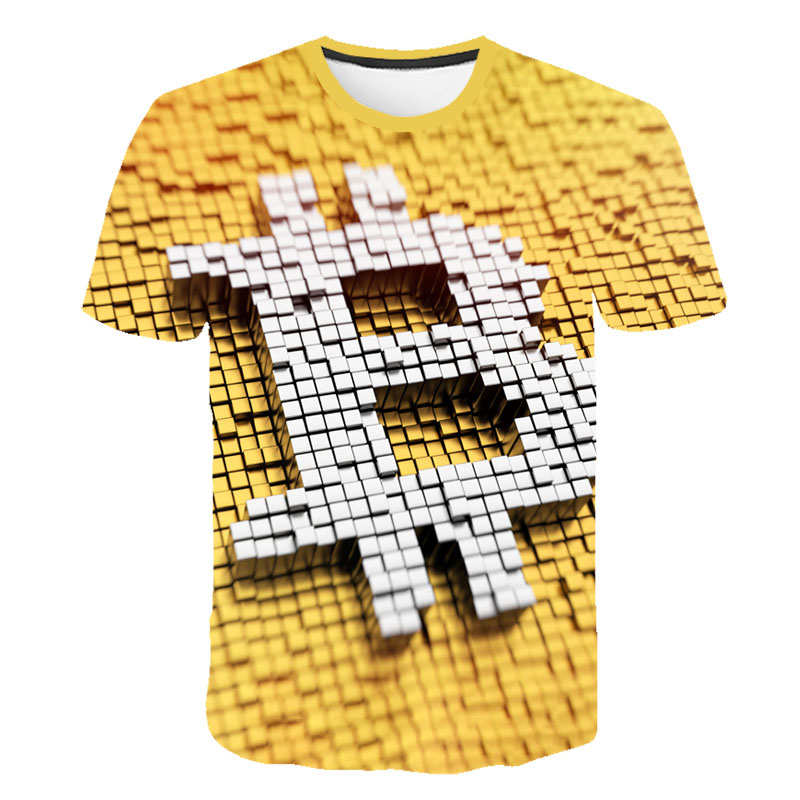 2021 latest summer men's 3d T-shirt Bitcoin printing casual streetwear loose short sleeves blockchain revolution cryptocurrency 1