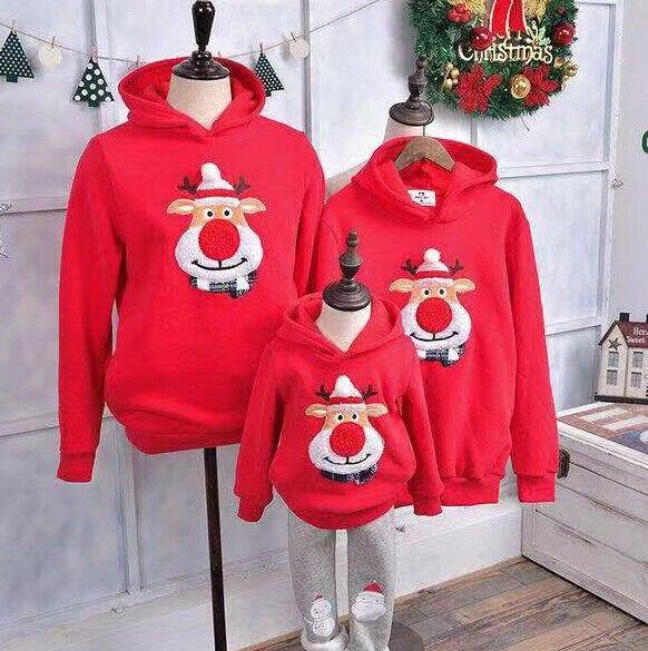 Christmas Family Matching Clothes Daddy Mum Kids Boy Girld Hoodies Cartoon Deer Print Hooded Sweatshirts Tops Clothes