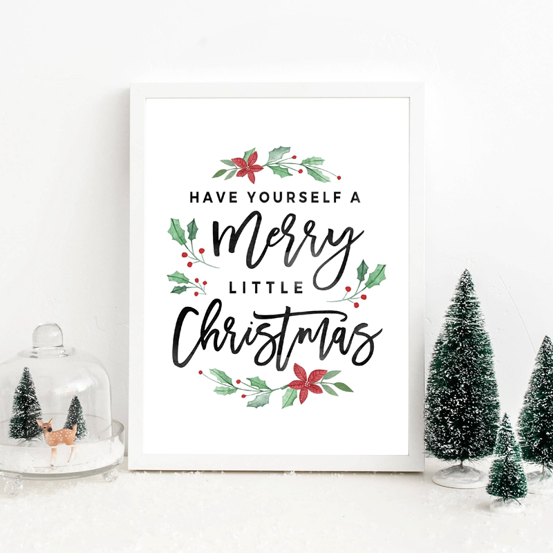 Christmas-Decorations-Merry-Christmas-Poster-Prints-Have-yourself-a-Merry-Little-Christmas-Quote-Canvas-Painting-Holiday (2)