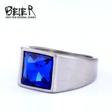 BEIER 316L stainless steel Fashion Inlaid Red/Blue/Black Stone Square Men and Women Ring Jewelry Gift LLBR8-701R