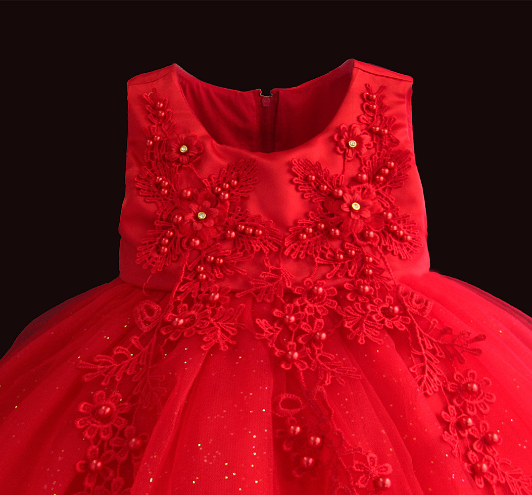 Zoeflower New Style Applique Diamond Set Flower Children Baptism Princess Dress Banquet Formal Dress Red