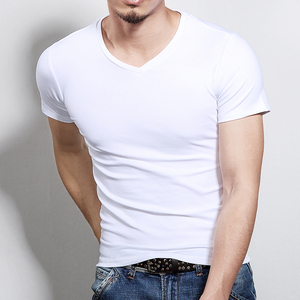 Image 3 - New men round collar short sleeve T shirt v neck pure color T shirt and a half sleeve T shirt cultivate ones morality is tight