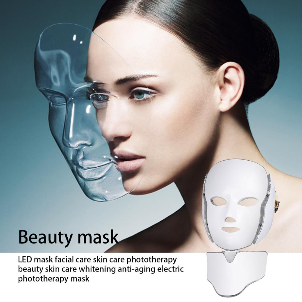 Salon Home Use 7 Color Photon Electric LED Facial Mask With Neck Skin Rejuvenation Anti Acne Wrinkle Beauty Treatment Instrument