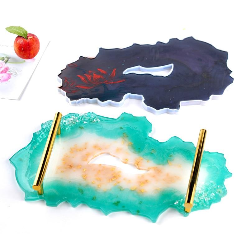 A Irregular DIY Grand moule de table en r/ésine /époxy cristal moule /à th/é sous-verre plateau /à th/é plateau /à th/é support en silicone pour la fabrication de bijoux en r/ésine