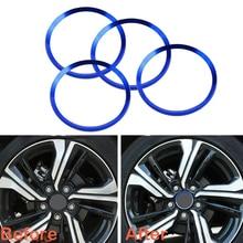 4pcs Aluminum Alloy Blue Wheel Center Hub Decorative Rings Decorator Covers Trim For Honda Civic 2016-2017