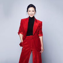 women pant suits formal new fashion red corduroy waist was thin temperament suit jacket wide leg cropped two-piece suit(China)