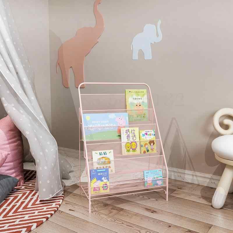 נורדי ברזל אמנות מגזין מדף מדף ספרים פשוט רצפת ילדי תינוקות תמונה ספר קטן מדף ספרים יסודי בית ספר ארון ספרים