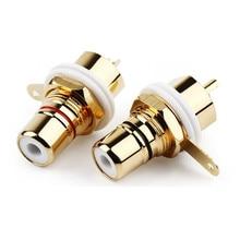 Conector rca fêmea soquete chassis cmc conectores 28.6mm áudio jack anteparo branco preto porca de ciclo solda banhado a ouro plug