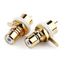 RCA Connector Female Socket Chassis CMC Connectors 28.6mm Audio Jack Bulkhead White Black Cycle Nut Solder Gold Plated Plug