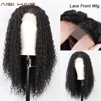 AISI HAIR Long Black Curly Lace Wigs with Baby Hair for Women Loose Hair Synthetic Lace Front Wig Heat Resistant Fiber Wig long synthetic african american wigs heat resistant synthetic lace front wig baby hair for black women lace wigs wholesale price