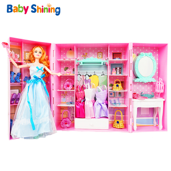 Baby Shining Pretend Playset Toy Miniature Doll House Furniture Bathroom Simulation Dressing Table Room Birthday Gift for Girl