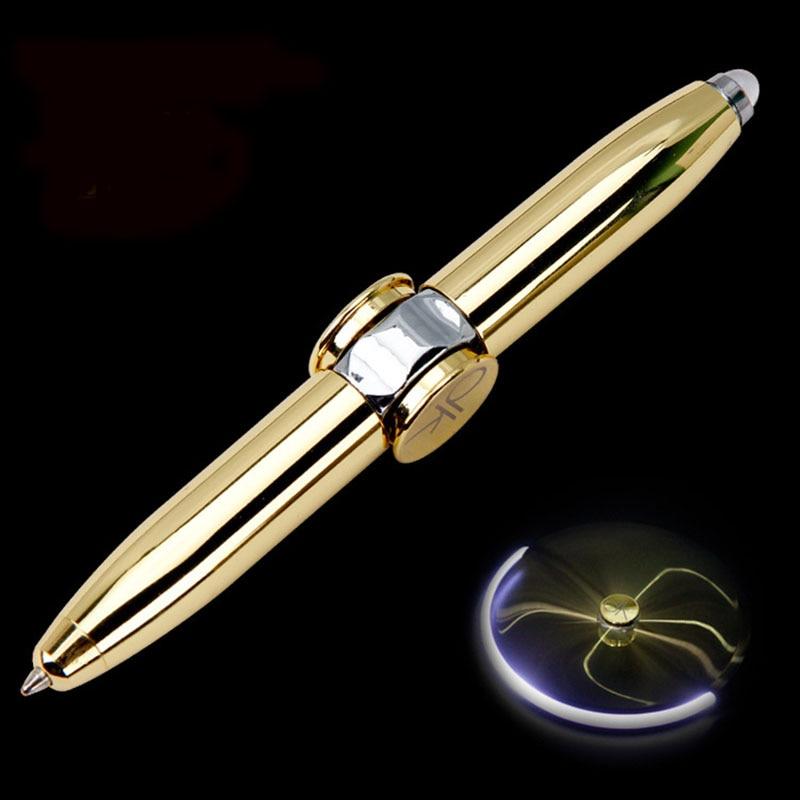 1pcs Creative Multi-Function LED Rotate Decompression Gyroscope Metal Ballpoint Pen Fashion Office School Supplies Writing Pens