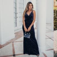 Chic Velvet Long Party Dress Sleeveless Double Spaghetti Strap V Neck Evening Dresses With Beading