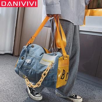 Fashion Oxford Travel Bag Women/men Hand Luggage Bags Case Big Duffle Weekend Male/female Denim Patchwork Gym - discount item  40% OFF Travel Bags