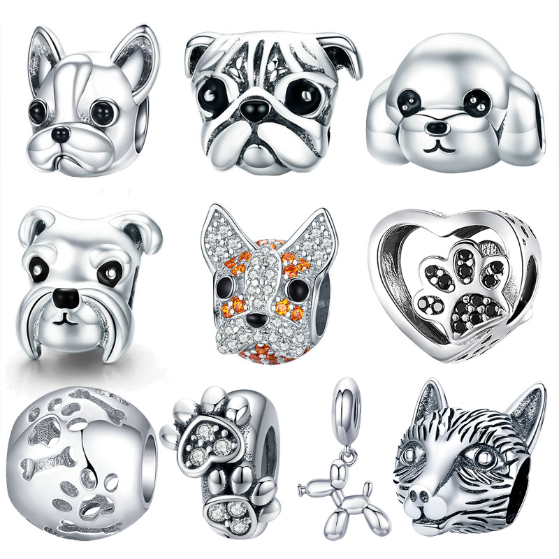Dog Charm 925 Sterling Silver French