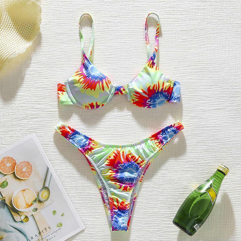 Cetak bikini set Push up baju renang wanita bak mandi Seksi dua potong setelan Tinggi potong baju renang wanita 2020 Thong pakaian biquini baru