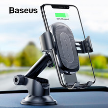 Baseus 2 in1 Qi Wireless Car Charger for iPhone XS Max Samsung S8 Quick Wireless Charging Charger Car Mount Mobile Phone Holder(China)
