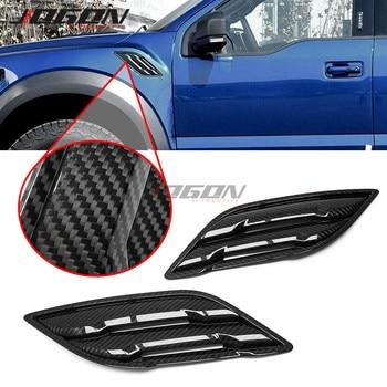 Real de carbono para coche lateral para carrocería guardabarros de ventilación de aire del divisor del ajuste para Ford F-150 F150 2017, 2018, 2019, 2020