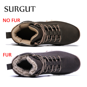 Image 2 - SURGUT  2021 Fashion Winter Snow Boots For Men Male Casual Shoes Adult Quality Rubber High Top Super Warm Plush Warm Ankle Boots