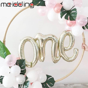 40inch Number ONE Script Balloon Balloons One Year Old 1st Birthday Party Decorations Baby Boy Girl Gender Reveal Baloon Supply