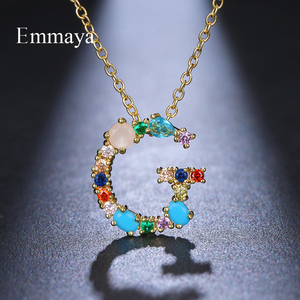 Emmaya New Fashion 26 Letter Shape Necklace WIith Colorful Cubic Zircon Women&Girls Fascinating Pendant Party Charming Jewelry