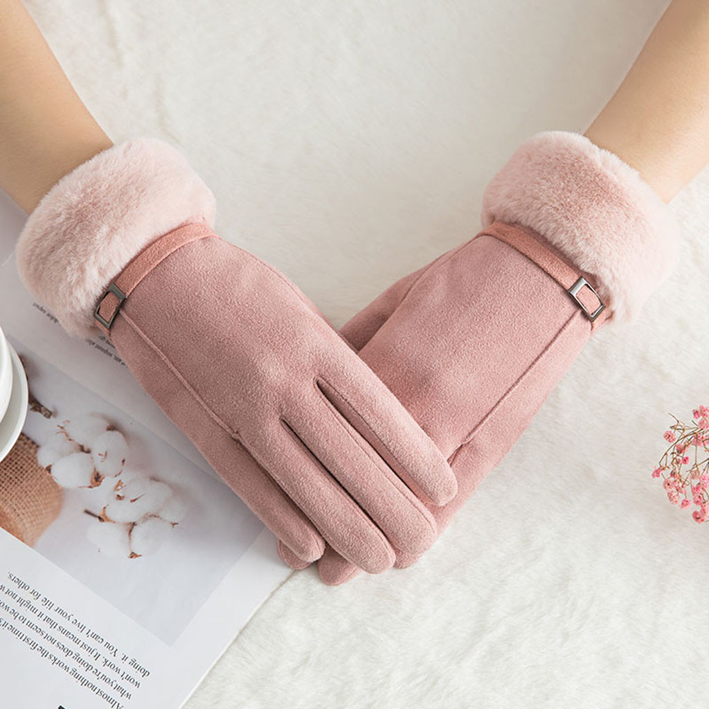 Cute Women Gloves Touch Screen Winter Warm Gloves Outdoor Driving Gloves Mittens