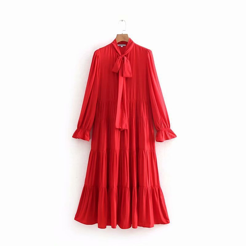 Women's Dress 2019 Spring New Style Lace-up Solid Color Flounced Long-sleeved Dress Long Skirts