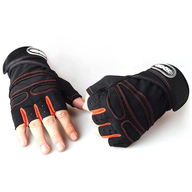 1 par prático esportes fitness antiderrapante respirável metade dedo luvas de esportes ao ar livre anti-suor ciclismo luva 3