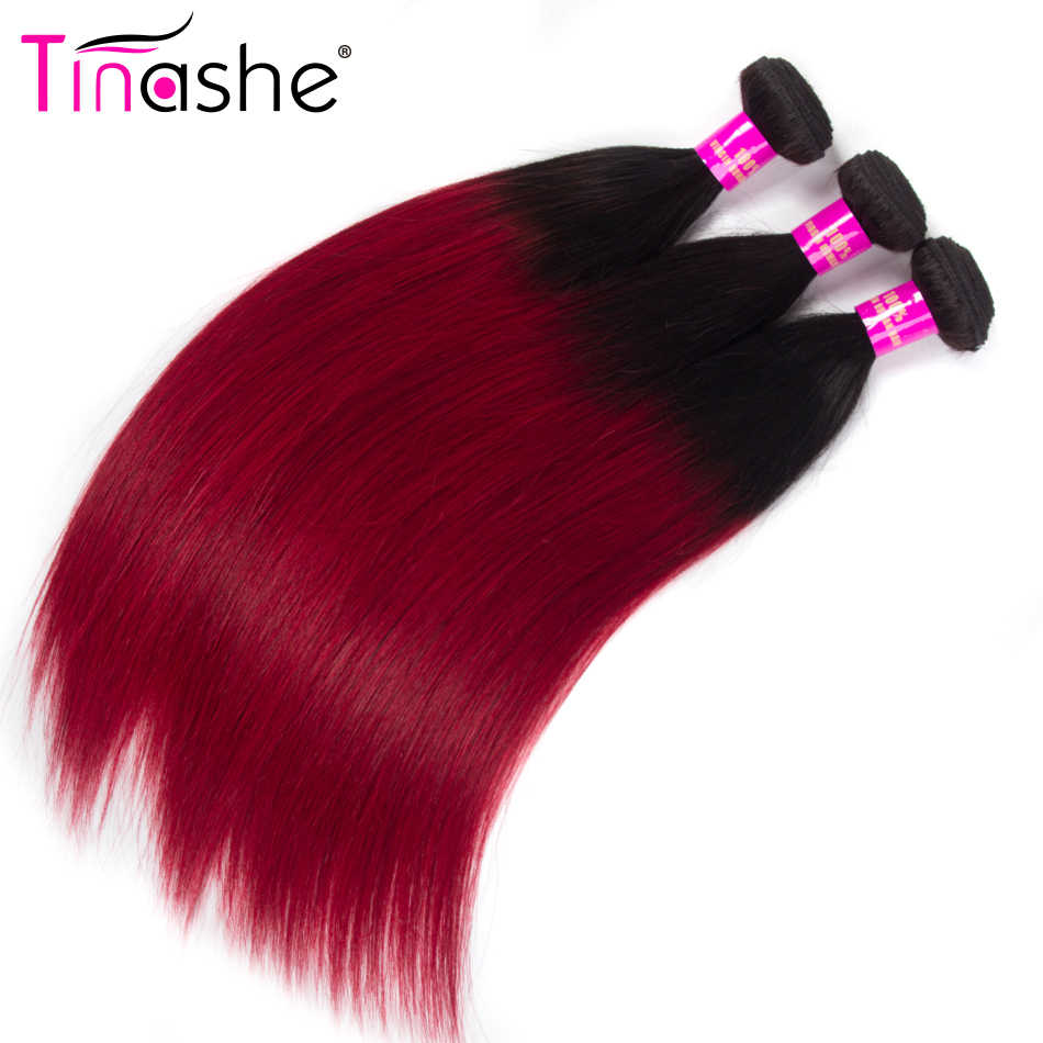 Tinashe Hair 1B Red Ombre Bundles Brazilian Hair Weave Bundles Remy Human Hair 3 Bundles Colored Straight Hair Bundles
