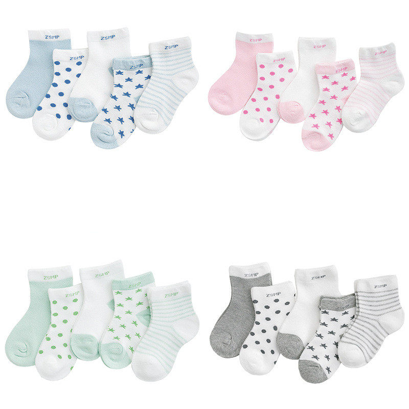 Newborn Baby Boy Socks Toddler Girls 0-2 Year 5 Pairs Pack Wholesale Socks Infants Mesh Ultra-thin Breathable Stars Moon Socks