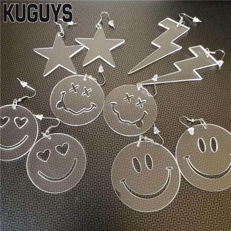 KUGUYS 5 Style Geometric Drop Earring For Women Cute Acrylie Clear Earrings Fashion Jewelry Trendy Accessories
