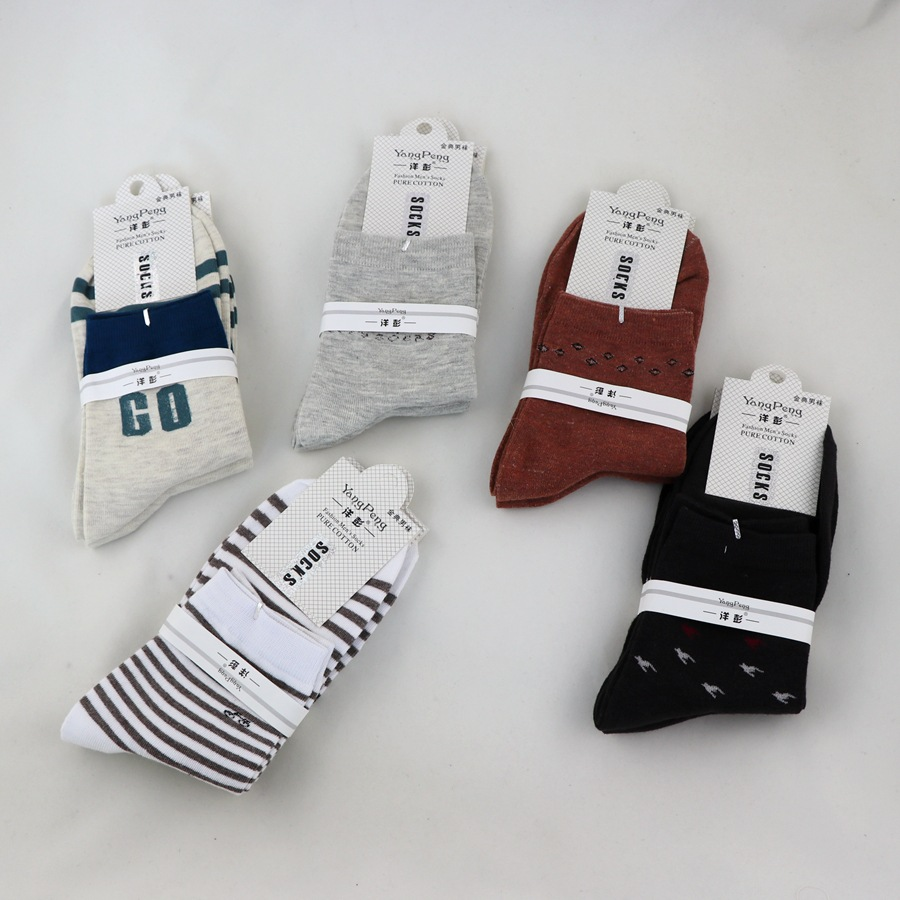 Men's Cotton Socks With Multi-flowered Letters Geometric Patterns Stripes Breathable Sweat-absorbent Cotton Socks 2020 Spring