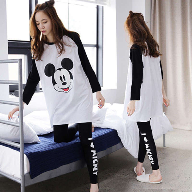 Cartoon Mickey Mouse Print Pajamas For Women Spring Summer Thin Cotton Pyjama Sets Long Sleeve Casual Pijama Female Sleepwear
