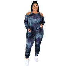 Off-the-shoulder Plus Size XL-5XL 2 pieces sets Woman's Tie-dyed Dark Leisure Stretch Sweatpant Tracksuit Casual Jogger Outfit