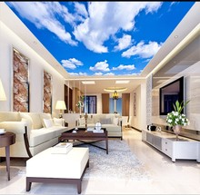 все цены на Living Room Bedroom Ceiling Background Wallpaper 3D Mural Beautiful white clouds and blue sky ceiling murals онлайн