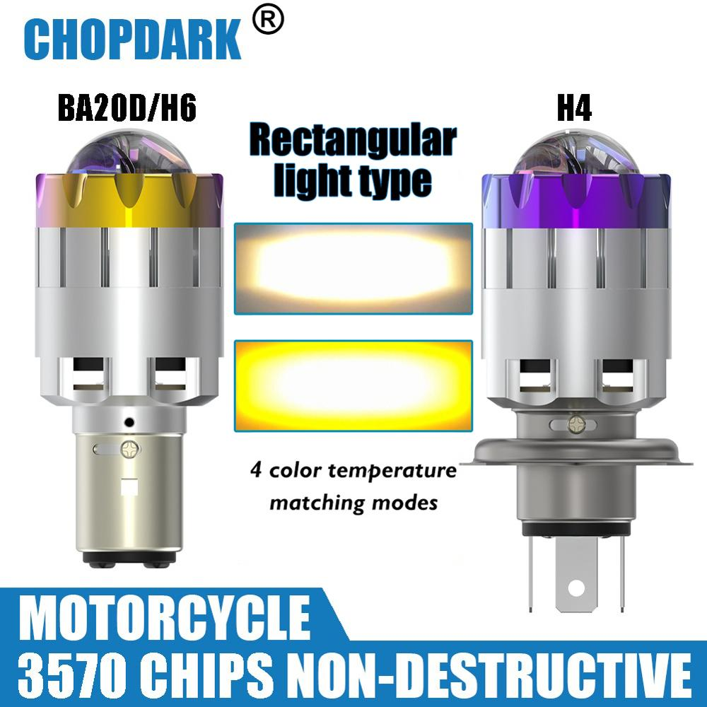 H4 BA20D Motorcycle LED Headlight Bulb Bright High Low Hi Lo Beam Projector 3570 Chips 5000LM 3000K Yellow 6000K White 1 Bulb
