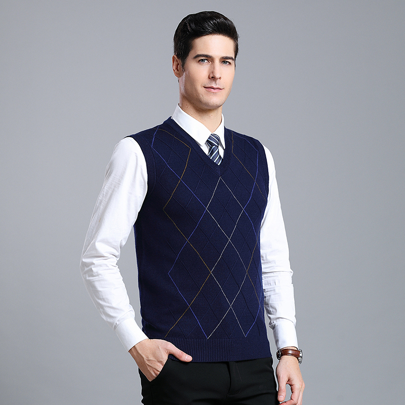 New Arrival Male Winter Wool Vest Sweater Men Sleeveless Casual  Knitted V-neck Fashion Argyle Sweater High Quality